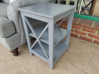 SET OF GRAY X-SHAPED END TABLES 1