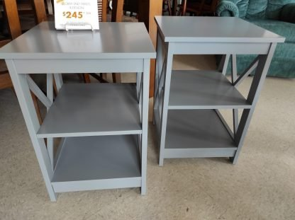 SET OF GRAY X-SHAPED END TABLES 2