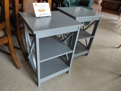 SET OF GRAY X-SHAPED END TABLES 3