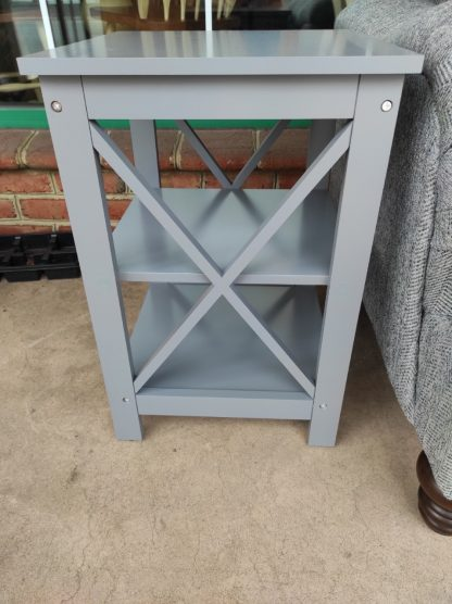 SET OF GRAY X-SHAPED END TABLES 4