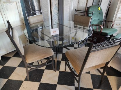 GLASS TABLE AND FOUR METAL CHAIRS 1