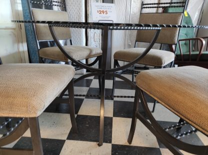 GLASS TABLE AND FOUR METAL CHAIRS 3