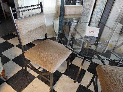 GLASS TABLE AND FOUR METAL CHAIRS 2