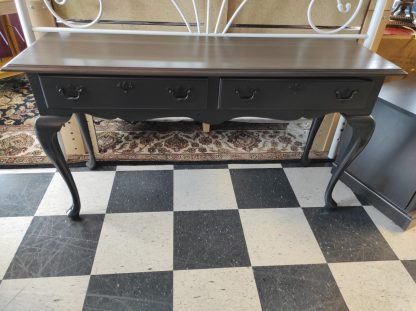 BLACK PAINTED HARDWOOD CHERRY SOFA TABLE 1