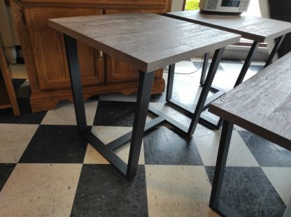 3 PIECE GRAY AND METAL END TABLE SET BY LANE 4