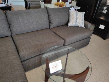 CHOCOLATE COLORED SECTIONAL WITH CHAISE END 4