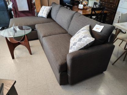 CHOCOLATE COLORED SECTIONAL WITH CHAISE END 6