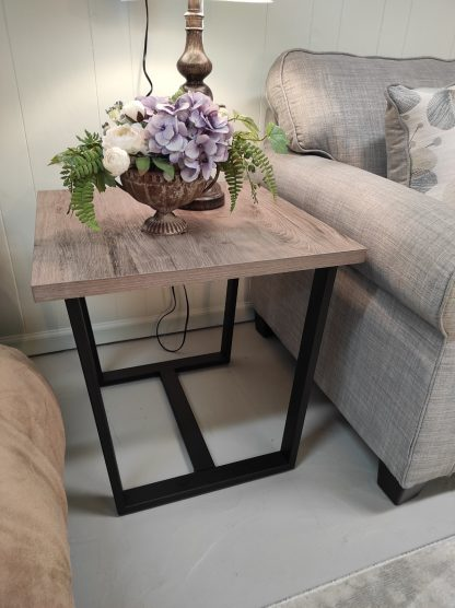 3 PIECE GRAY AND METAL END TABLE SET BY LANE 2