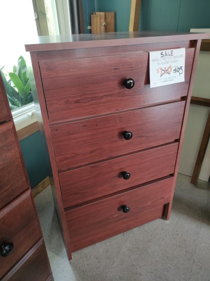 SMALL CINNAMON FINISH CHEST OF DRAWERS 1
