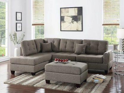 BEIGE COLORED SECTIONAL W/ NAIL HEAD TRIM 1