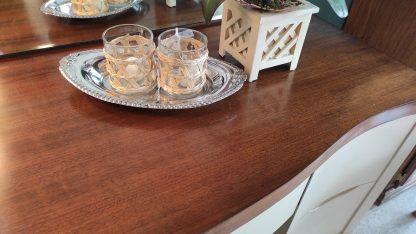 BEIGE & WALNUT VANITY W/ MIRROR & STOOL 7
