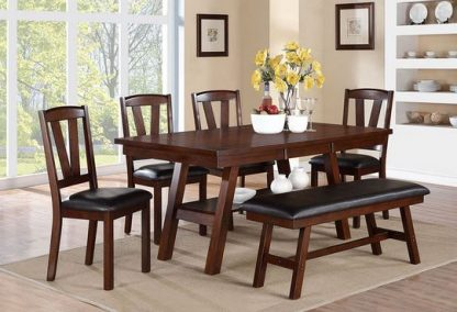 NEW! CHERRY FINISH TABLE, CHAIRS & BENCH 1