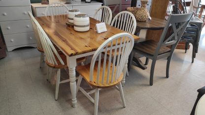 2 TONE WHITE TABLE W/ 6 CHAIRS 1