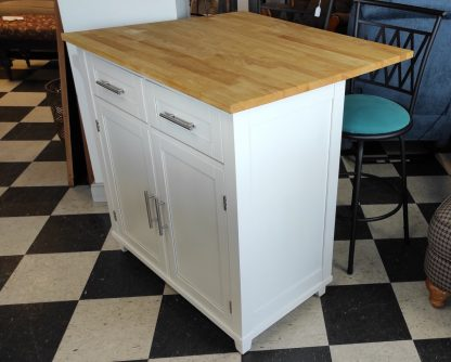 WHITE KITCHEN ISLAND W/ EXTENSION COUNTER 1