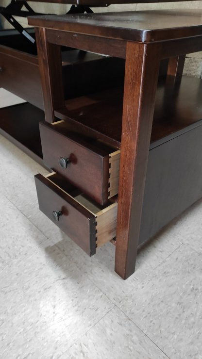 NARROW CHERRY FINISH STORAGE END TABLE 2