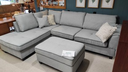 NEW! CLOUD GRAY SECTIONAL & STORAGE OTTOMAN 1