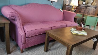 PLUM COLORED SOFA WITH ROLLED ARMS 3