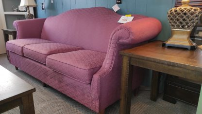 PLUM COLORED SOFA WITH ROLLED ARMS 2