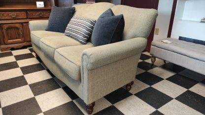 TAN SOFA WITH CURVED ARMS 2