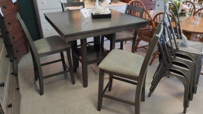 NEW! PUB HEIGHT GRAY TABLE & 4 STOOLS 1