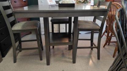 NEW! PUB HEIGHT GRAY TABLE & 4 STOOLS 4