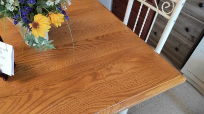 """36"""" SQUARE OAK TABLE W/ 4 METAL CHAIRS 3"""