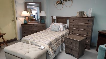 TWIN SIZE WEATHERED GRAY BEDROOM SUITE 3