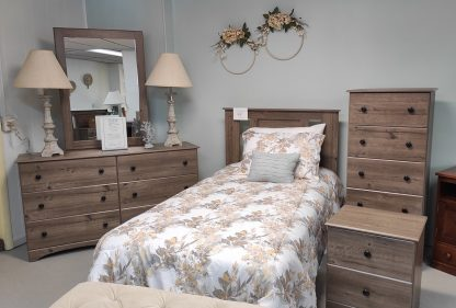 TWIN SIZE WEATHERED GRAY BEDROOM SUITE 1
