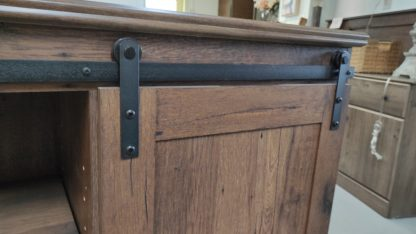 NEW! RUSTIC OAK BARN DOOR TV STAND 2