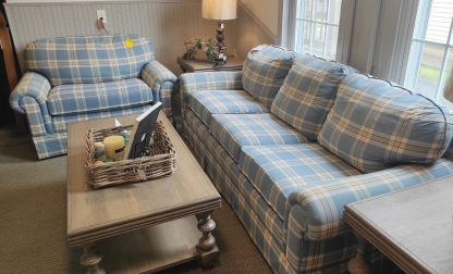 COTTAGE BLUE SOFA & CHAIR MADE BY HALLAGAN 1