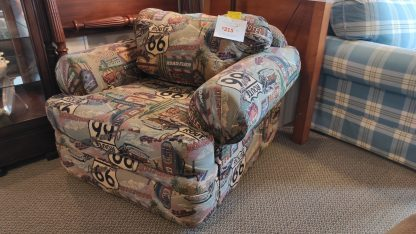 UNIQUE! ROUTE 66 UPHOLSTERED CHAIR & OTTOMAN 3