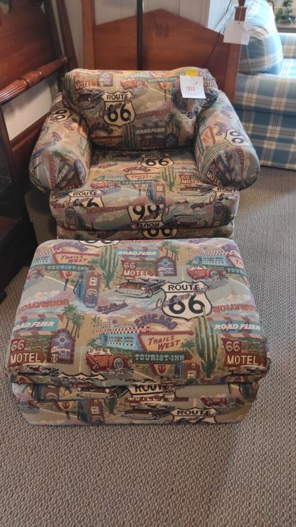 UNIQUE! ROUTE 66 UPHOLSTERED CHAIR & OTTOMAN 1